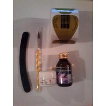 Kit Monomer Po Acrilico 100 Moldes Pincel Lixa Frete Gratis
