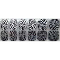 Adesivo Unha Ref:40) Pelicula Tigre Prata Preto Animal Print