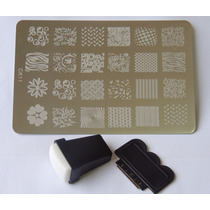 Placas Decalque Adesivo Para Unhas + Carimbo 24 Desenhos