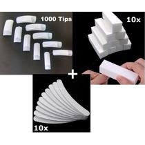 1000 Tips Unha Postiça P/ Gel+ 10 Lixa Bloco+ 10 Lixa Banana
