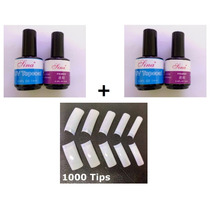Kit 2 Topcoat + 2 Primer + 1000 Tips Unha Postiça P/ Gel