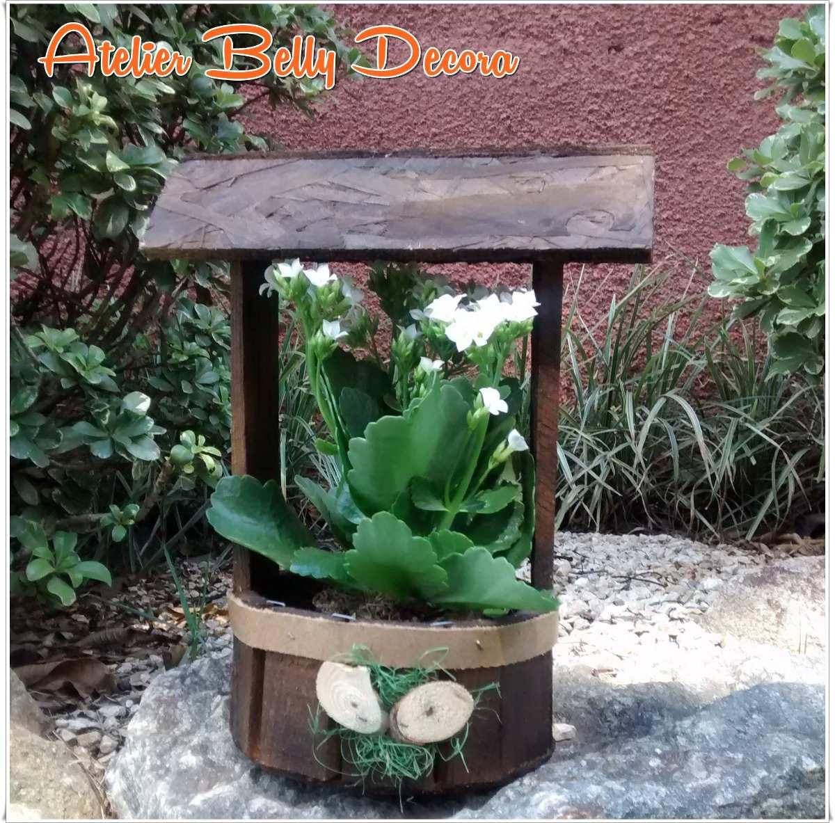decoracao para jardim de sitio : decoracao para jardim de sitio:Decoração Jardim Madeira Rustica Artesanal Poço Cachepô Flor – R$