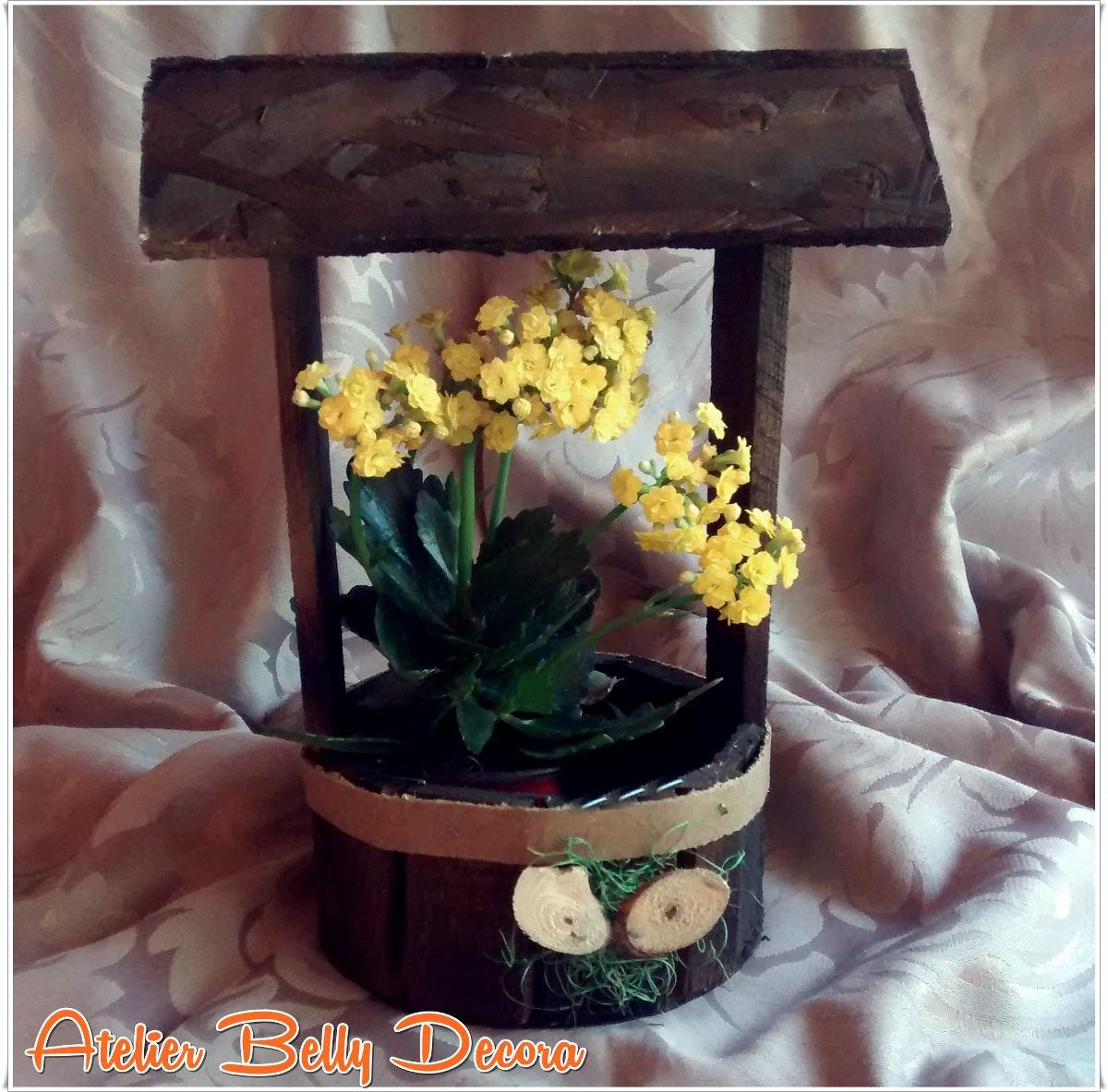 Adesivo Para Box De Banheiro ~ Decoraç u00e3o Jardim Madeira Rustica Artesanal Poço Cachep u00f4 Flor R$ 21,89 no MercadoLivre