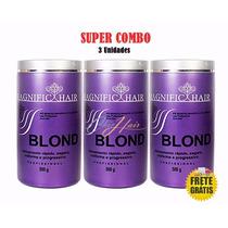 3 Unidades D Pó Descolorante 500g Magnific Hair Frete Gratis