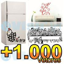 +1.000 Vetores Adesivos Decorativos Parede Geladeira Plotter