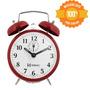 Relógio Despertador Antigo Mecânico Vermelho Cordas - 2208