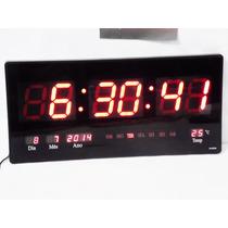 Relógio Digital Grande Led Parede C/ Calendário E Termômetr0