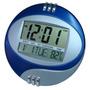 Relógio De Mesa Ou Parede Digital Redondo Azul C/despertador