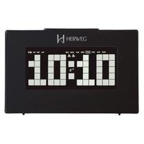 2963 - Relógio Despertador Digital Preto Led Branco Herweg