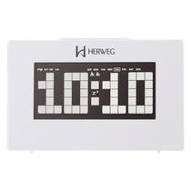 2963 - Relógio Despertador Digital Branco Led Branco Herweg