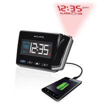 Relógio Despertador Projeta Hora E Carrega Celular Acurite