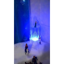 Castelo Frozen 3d Em Acrílico Com Leds E Escada