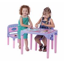 Mesa Frozen Anna Elsa Olaf Mesinha Infantil C/ 2 Cadeiras