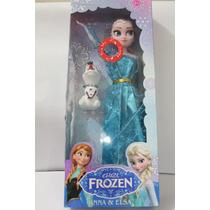 Boneca Do Filme Frozen Musical Elza Com Olaf E Anna Pequena