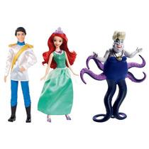 Princesas Disney Boneca Ariel, Eric E Úrsula Original Mattel