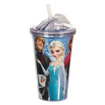 Copo Canudo Acrílico Disney Frozen 450ml Anna Elsa