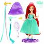 Mini Boneca Cabelos Sereia Ariel Princesas Disney Mattel