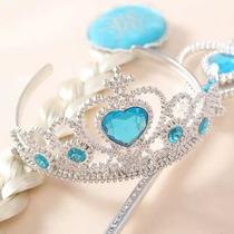 Trança Frozen Elsa Ou Anna Kit Coroa Varinha Trança