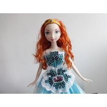 Boneca Valente Ruiva Princesa Disney Vestido Azul E Coroa
