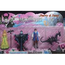 04 Bonecos: Aurora Malévola Phillip E O Dragão 13 Cm Disney