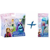 Frozen Kit Com 3 Bonecos Elsa Anna Olaf Mattel + Microfone