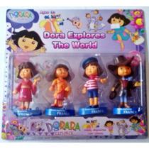 Kit Com 4 Bonecas Miniaturas Dora Aventureira 11 Cm