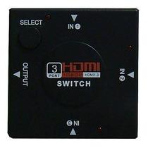 Hub Switch Divisor Hdmi 3 Portas Hdmi Com 2 Cabos Hdmi 160cm