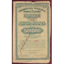 Apólice Prefeitura Municipal De Porto Alegre 1935
