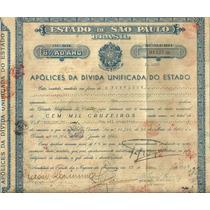 Apolice Divida Unificada Estado Sao Paulo 1945