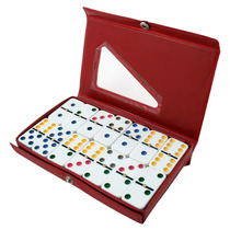 Dominó Profissional Colorido 28 Pedras + Estojo Para Jogo