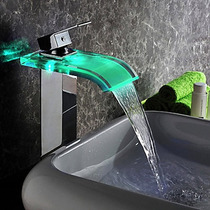 Torneira Para Banheiro De Metal Cascata Vidro Led Cuba Alta