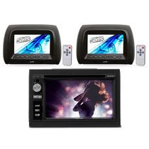 Dvd Player 2 Din Ucb Bluetooth Usb Sd + 2 Encosto De Cabeça