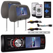Kit Dvd Player Audioart Ar 340 Mp + Par Tela Encosto Grafite