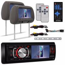 Kit Dvd Player Audioart Ar 340 Mp + Par Tela Encosto Cabeca