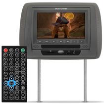 Encosto Cabeça Banco Carro Cinza C/ Dvd + Controle + Frete