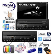 Dvd Retrátil 7 Napoli 7968 Gps Touch Tv Digital Sd Usb Am/fm