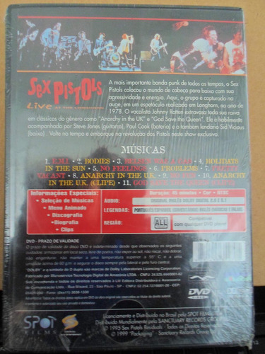 Dvd Sex Pistols - Live At The Longhorn - Lacrado