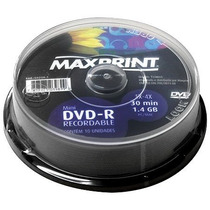 Mini Dvd-r P/ Dados 1.4gb / 30 Minutos Pino Com 10 Maxprint
