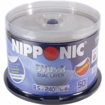Mídia Virgem Gravável Dvd+r Nipponic 8.5gb Com 50 Unidades
