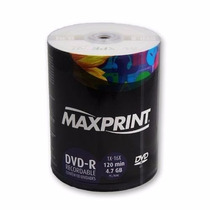 Maxprint 100 Dvd Mídia Virgem - 4.7gb 120min Dvd-r