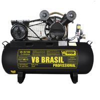 Compressor Ar 10 Pés 100 Litros V8 Brasil 2hp 220v + Brinde