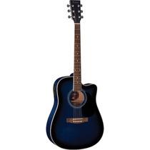 Hofma Ye220 Violão Folk Cutway Aço Blue Burst - Frete Grátis