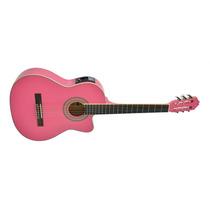 Oferta ! Phx Nl39lc Violão Eletrico Nylon C/ Afinador Rosa