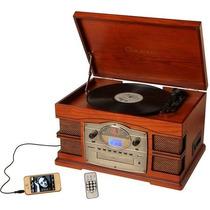 Toca Discos Retro Sacramento - Rádio Am/fm, Cd Mp3, Fita K7