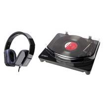 Toca-discos Vinil C/ Conversor Digital + Headphone C/ Mic