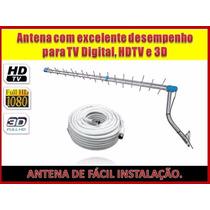 Antena Espinha De Peixe Para Sinal Digital Hdtv + Cabo 20mt
