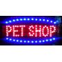 Placa Painel Quadro Letreiro Luminoso Led Pet Shop 48x25cm