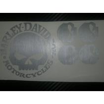 4 Adesivos Tanque Harley Davidson Skull Custom