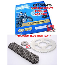 Kit Relação Completa Xtz125 Aço 1045 Brandy Serjaomotopecas