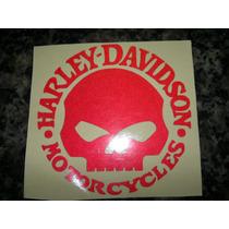 1 Adesivo Harley Davidson Refletivo Caveira Skull Vermelho